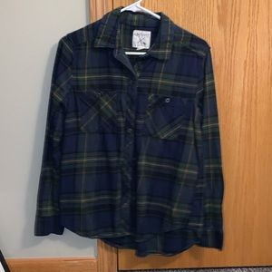 Navy and dark green plaid flannel